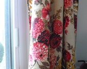 Vintage pink, red, and gold floral fabric, almost 5 yards---RESERVED for LINDA