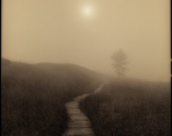 Boardwalk Sunset, Landscape Photography, Fog Art, FIne Art Photography Decor