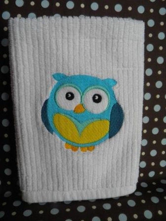 Embroidered Blue Owl Kitchen Towel