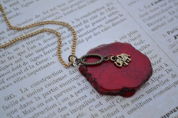 Antique Gold Elephant. Red Dyed Turquoise Slab Necklace. Boho Chic.