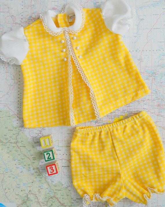 Yellow Gingham Vintage Two Piece Bloomer Set  Size 12 -18M