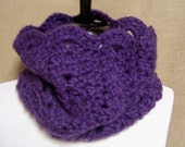 Lacy Violet Cowl - Ready To Ship Women's Neckwarmer Purple Fuzzy Girl's Scarf Crochet Orchid  Cowl