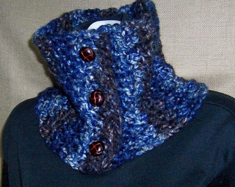 Neckwarmer in Navy Blue, Brown - Ready To Ship - Men's Neckwarmer Unisex Neckwarmer Men's Cowl Unisex Cowl Buttoned Cowl Button Neckwarmer