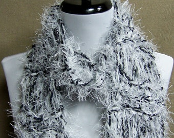 Black and White Fluffy Scarf - Ready To Ship Women's Long Knit Scarf Girl's Scarf