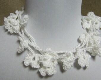 White Flower Lariat - Ready To Ship Sparkle Long Skinny Scarf Crochet Necklace Jewelry Wedding Bridal