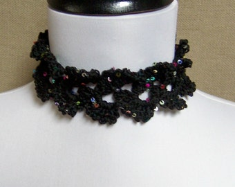 Lacy Black Choker Necklace with Sequins - Ready to Ship Women's Crochet Statement