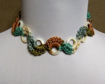 Choker Necklace in Cream, Brown, Olive Green and Aqua with Shell Rings - Ready To Ship Crochet Cotton Statement Necklace
