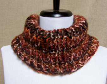 Men's or Unisex Brown Neckwarmer - Ready To Ship Woman's Cowl Man's Gaiter Multicolor Cowl