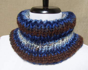 Men's or Unisex Neckwarmer in Blue, Brown and Cream Stripe - Ready To Ship Woman's Cowl Man's Gaiter Multicolor Cowl