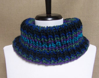 Men's or Unisex Neckwarmer in Black, Teal, Purple and Olive Green Stripe - Ready To Ship Woman's Cowl Man's Gaiter Multicolor