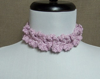 Lacy Rose Pink Sparkle Necklace Choker - Ready To Ship Crochet Adjustable Tie