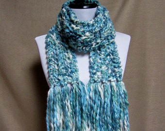 Lacy White, Teal, Aqua Scarf - Ready To Ship Women's Long Fringe Scarf Girl's Knit Lace Turquoise Scarf
