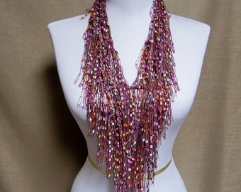 Fringe Binge Fringe Necklace Scarf in Tangerine Orange, Pink, White Ready to Ship Infinity Scarf Circle Scarf Knotted Crochet Multicolor