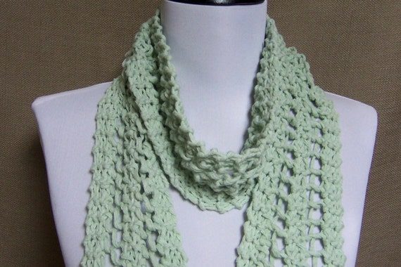 Soft Green Lacy Knit Fashion Scarf - Ready To Ship Women's Long Lace Scarf Girl's Fringe Cotton Linen Scarf