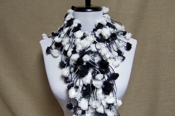 Puff Ball Boa - Black and White Cookie - Ready to Ship