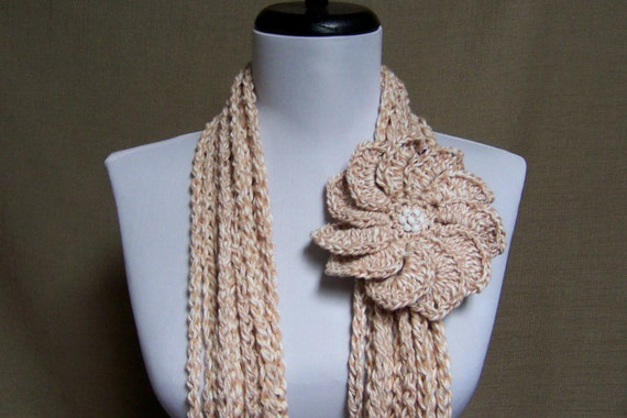 Circle of Chains Necklace Scarf in Tan, White Cotton with Flower Brooch Pin - Ready To Ship Circle Infinity Crochet Beige Scarf