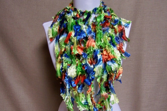 Fringe Binge Fringed Feathery Scarf Necklace in Variegated Shades Lime Green, Sapphire Blue and Rusty Orange - Ready to Ship