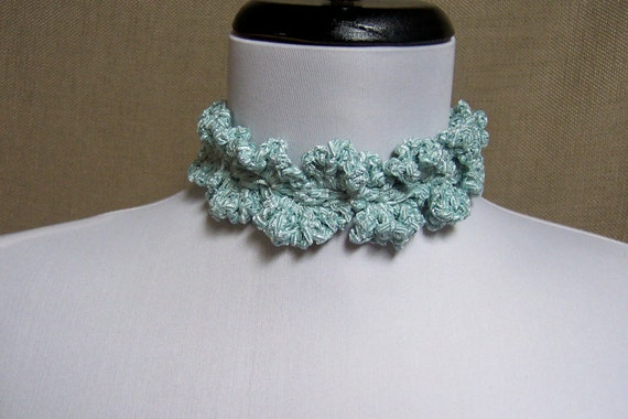 Lacy Sparkly Pale Turquoise Blue Adjustable Choker Necklace - Ready to Ship