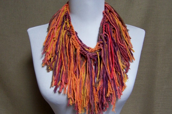 Fringe Necklace in Deep Pink, White, Tangerine Orange, Pink, Purple, Taupe and Gold - Ready to Ship