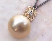 Maluku II - Solid 14K Gold Diamond Champagne South Sea Pearl Necklace