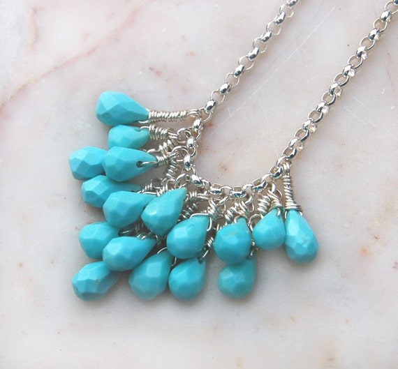 Monaco II - Sleeping Beauty Turquoise Cluster Necklace