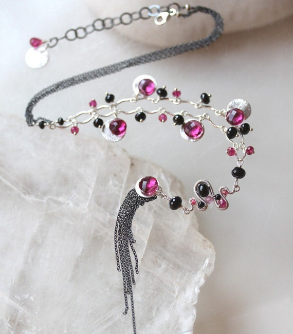 Tassel Sterling Necklace Ruby Pink Black Spinel - The Chinoiserie necklace