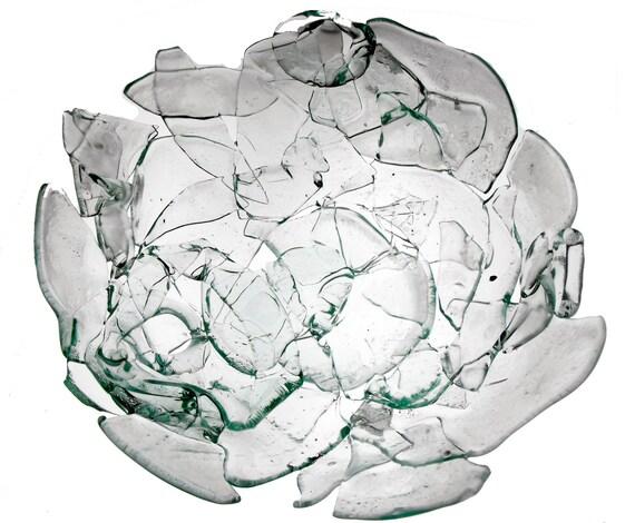 Broken Bottle Bowl - Aqua Clear