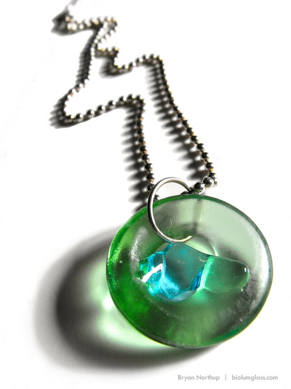 Simply Upcycled Glass Pendant Necklace - Pale Green Sapphire Center
