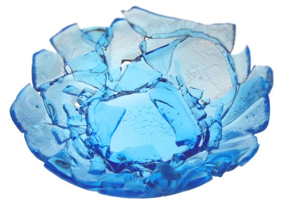 Broken Bottle Bowl - Sapphire small