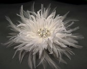 Wedding Flower - Silk and Feather Fascinator - Chrysanthemum -  ( Made to order) White, Off white/light ivory, Ivory, or Champagne