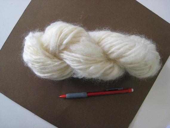 Handspun Bulky Wool Yarn Natural White