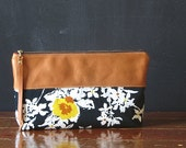 the 12-inch OVERSIZED zipper pouch. vintage florals and eco leather. limited edition.