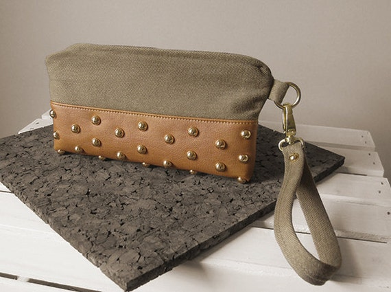 STUDDED CLUTCH (or wristlet).  wheat brushed denim and faux scotch-colored leather.