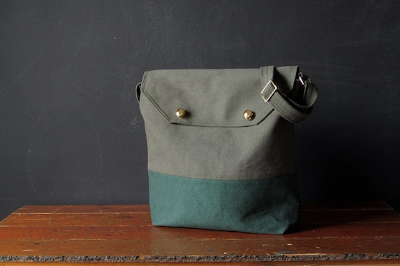 the HAVERSACK. olive and forest green brushed canvas.