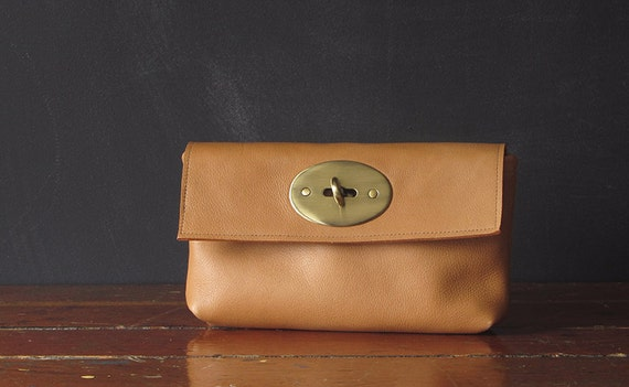 on sale. the ENVELOPE clutch. honey eco leather.