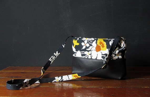 the CROSS-BODY pouch. eco leather and vintage florals. limited edition.