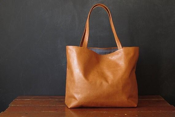 the BOOK tote. carmel eco leather.