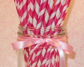 Vintage Inspired Dark Pink Soda Fountain Paper Straws   (25)  With DIY Flag Topper File