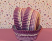 Purple Stripe Floral Muffin Cups   (40)