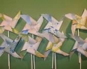 Garden Party Blue and Green Floral Pinwheels  (8) - sweettreatssupplies