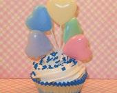 Pastel Color Heart Balloon Picks   (Qty 3)