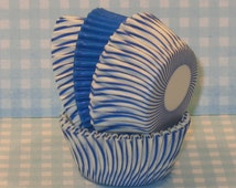 MINI Blue and White Carnival Stripe Cupcake Liners with Blue  (40)