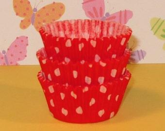 MINI Orange Polka Dot Cupcake Liners (Qty 50)  Mini Orange Polka Dot Baking Cups, Mini Orange Cupcake Liners, Mini Orange Baking Cups