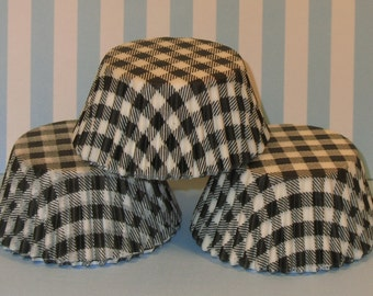 Black and White Country Gingham Cupcake Liners   (Qty 45)