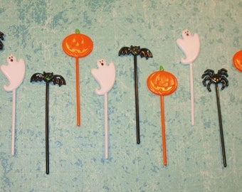 Mini Halloween Picks - Ghost, Pumpkins, Bats and Spiders   (12)