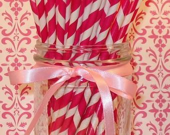 Vintage Inspired Soda Fountain Fuchsia and White Stripe Paper Straws With DIY Flag Topper File   (25)