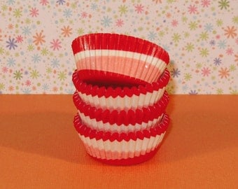 MINI Red and Pink Topsy Turvy Swirl Liners (Qty 50)  Mini Red Cupcake Liners, Mini Red Baking Cups, Mini Cupcake Liners, Mini Baking Cups