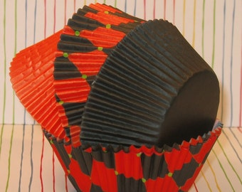 Orange and Black Diamond Mixed with Orange and Black Solid Cupcake Liners   (40)