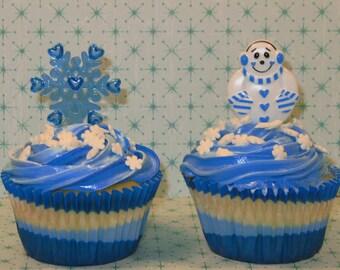 Snowman and Snowflake Cupcake Picks  (12)