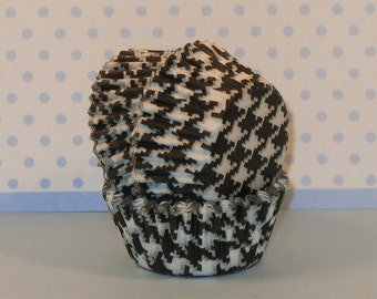Black and White Houndstooth Cupcake Liners  (45)